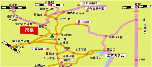 尺岳アクセスマップ
