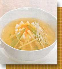 穂先たけのことゆで卵のスープ